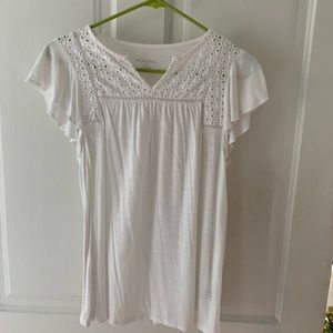 White blouse with eyelet top